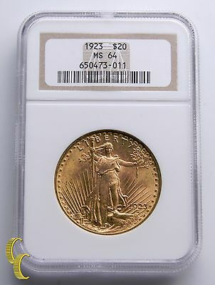 1923 $20 Gold St. Gaudens Double Eagle Graded by NGC as MS-64