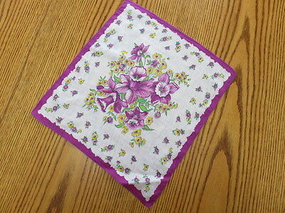 "Vintage Hankie/handkerchief - White - Purple And Yellow Flowers - 13"" By 12"""
