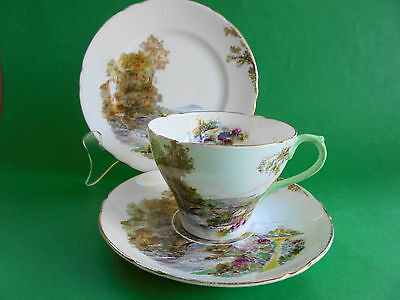 Vintage Shelley Heather Trio Tea Cup Saucer And Plate