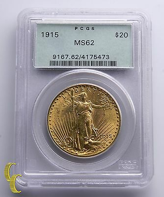 1915 $20 Gold St. Gaudens Double Eagle Graded by PCGS MS-62 Green Vintage Holder