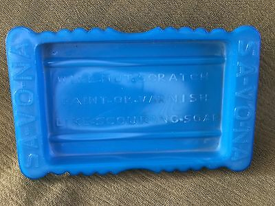 SA-VO-NA Advertising SOAP DISH Akro Agate Westite Blue Slag WILL-NOT-SCRATCH