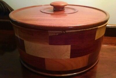 """Large Heavy Round Parquetry Box Marquetry Wooden Lidded Bowl Container 10.5""""wide"""