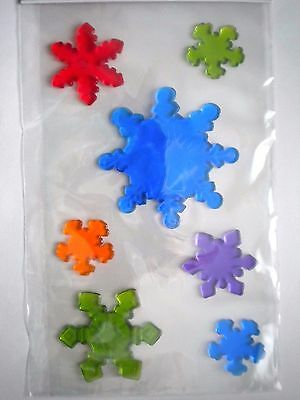 Christmas Colourful Snowflakes Gel Cling Window Decorations