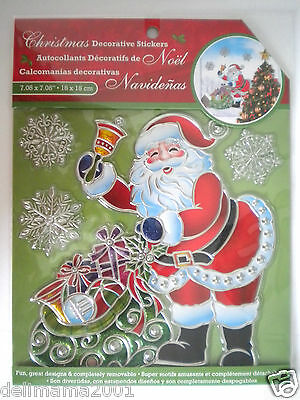 Santa With Gifts & Snowflakes 3D Christmas Peel 'n Stick Window Decorations