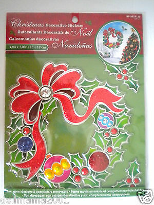 Decorated Wreath & Snowflakes 3D Christmas Peel 'n Stick Window Decorations