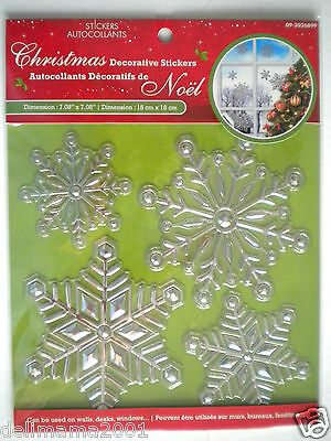 3D Christmas Silver Snowflakes Peel 'n Stick Window Decorations ~ #1