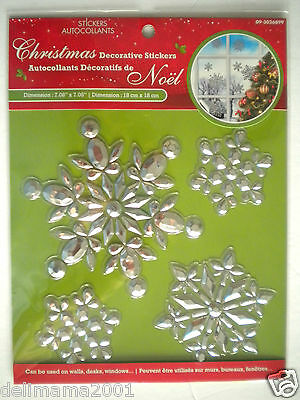 3D Christmas Silver Snowflakes Peel 'n Stick Window Decorations ~ #3