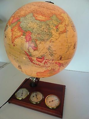 Vintage Scan-Globe Denmark World Discoverer Light up Weather Station Barometer