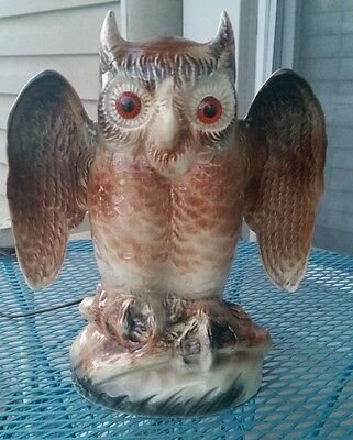 Vintage Mid Century KRON Texans Inc Pottery Owl  Lamp Light With Eyes