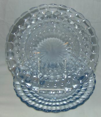 """3 Anchor Hocking BUBBLE BLUE *9 3/8"""" DINNER PLATES*"""