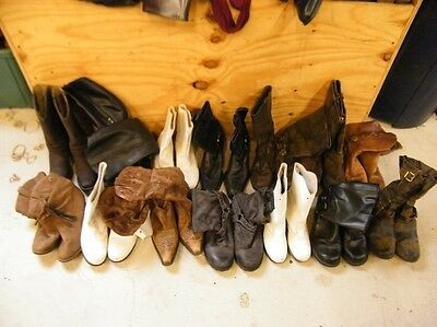 Lot 14 Pairs Womens Vtg Ranch Worn Biker Motorcycle Cowgirl Western Craft Boots