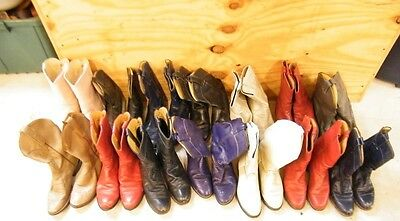Lot 14 Pair Womens Vtg Ranch Worn Leather Roper Cowboy Western Craft Decor Boots