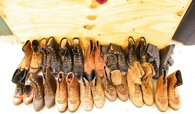 Lot 14 Pair Womens Vtg Ranch Worn Lacer Lace Up Roper Cowboy Western Craft Boots