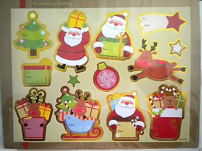 Pkg. Of 11 Large Luxury Gold Foil Peel 'n Stick Christmas Gift Tags ~ #2