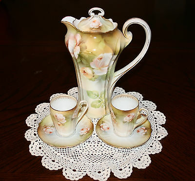 Vintage RS Germany Reinhold Schlegelmilch Chocolate Pot cups and saucers for two