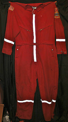 Vintage Red Fireman's 100% Nomex Topps Safety Apparel Coveralls Jumpsuit Size L