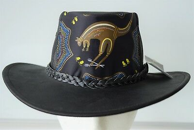 Buffallo Black Leather hat with water printing on the front Australian made