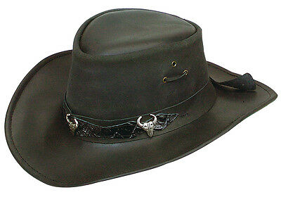 Jacaru water repellent Bufallow   leather hat  with Chinstrap Shapeable  brim
