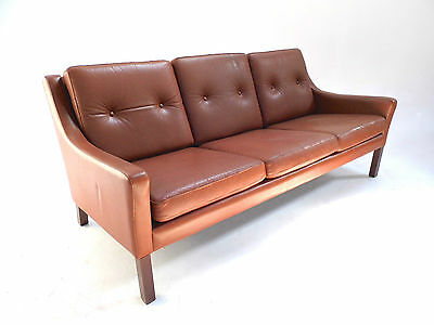 Vintage Danish Tan Brown Buttoned Leather 3 Seater Sofa Midcentury 1960s