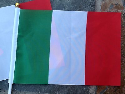 2 Italy Flag Italian Small Hand Waving Flags Display Restaurant Pubs sport event