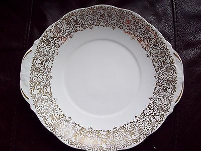 Queen Anne platter/cake/sandwich plate white and gold,vintage