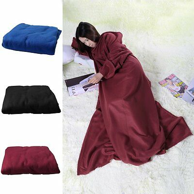 Supper Home Winter Warm Fleece Snuggie Blanket Robe Cloak With Sleeves~WS