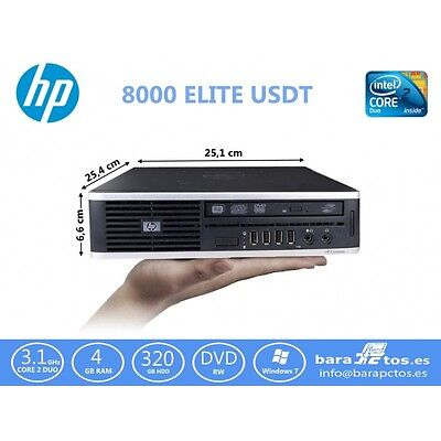 Mini Pc Hp 8000 Elite Usff Core 2 Duo E8500 3,16 Ghz 4 Gb 320 Sata Dvd-Rw W7