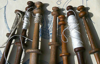 Lovely Collection of Vintage French Wood Bobbins Lace Making Spools Rare