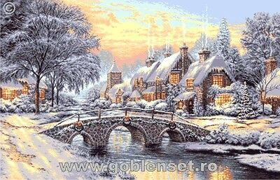 Winter sunset by Thomas Kinkade - Needlepoint kit of Goblenset