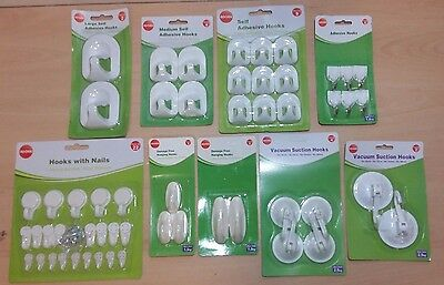Various Different Hooks and Sizes Damage Free/Adhesive/Suction Hooks Great Value