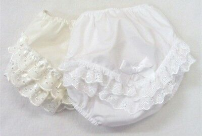 Baby Girls Broderie Anglaise & Bow Frilly Pants/Knickers 0-24 Month White