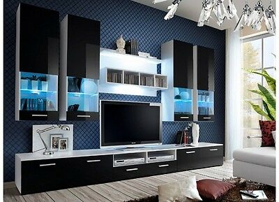 New Living Room Set Modern Wall Unit Tv Stand High Gloss With Free Led Lights
