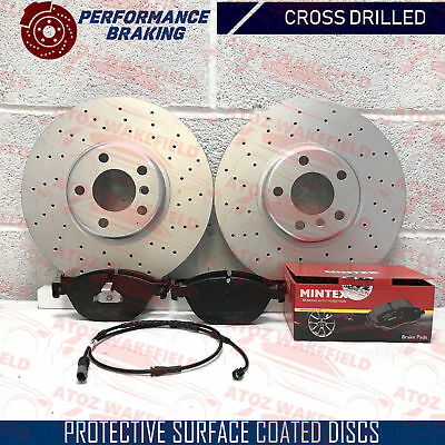 FOR BMW 530d F10 F11 FRONT DRILLED COATED BRAKE DISCS MINTEX PADS SET 348mm 10-