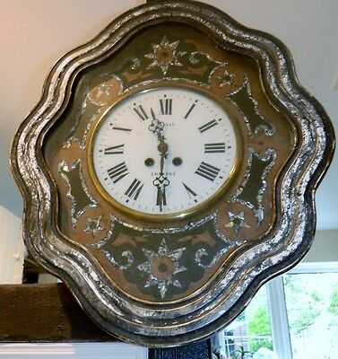 Antique French Oeil De Beouf Wall Clock -Mother Of Pearl Inlay –Guérin Longpré