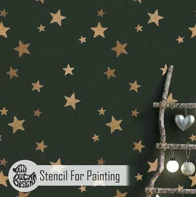 5-POINT STAR CLUSTER Nursery Childrens Bedroom Stencil Wall Stencil for Painting