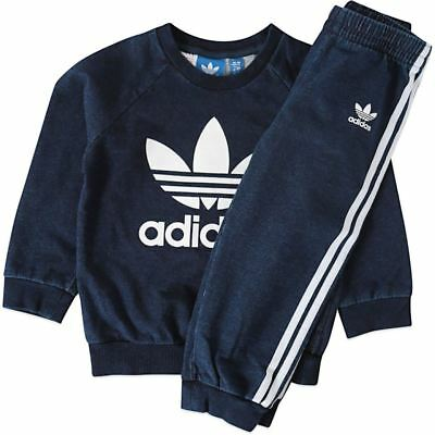 Infants Adidas Originals Denim Crew Tracksuit Top and Bottoms Baby 3M-12M NEW