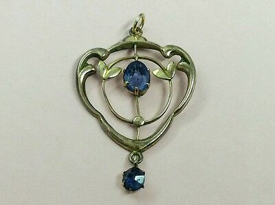 Antique Rolled Gold & Blue Sapphire Glass Pendant 1910