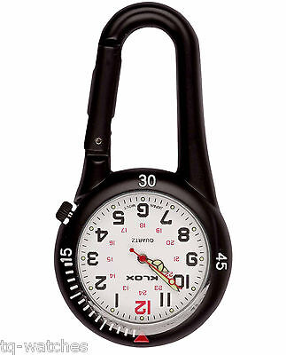Black Clip-on Carabiner Watch for Doctors Paramedics Nurses Chefs Sports WR 3ATM