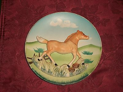 1960s Painted 3D Porcelain Palomino Pony Horse in Meadow Wall Plate Plaque