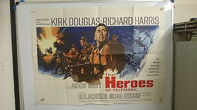 The Heroes of Telemark Original Quad Movie Film Poster 1965 Large Rare