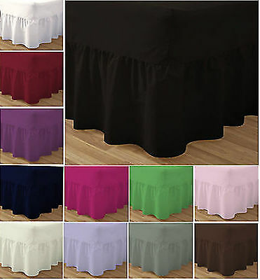 Plain Fitted Valance Sheet Poly Cotton Bed Plain Base Cover Platform Pleated