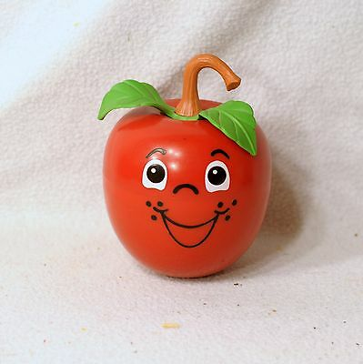Vintage Fisher Price HAPPY APPLE Chime Roly Poly Toy LONG Stem 1972 vgc USA Made