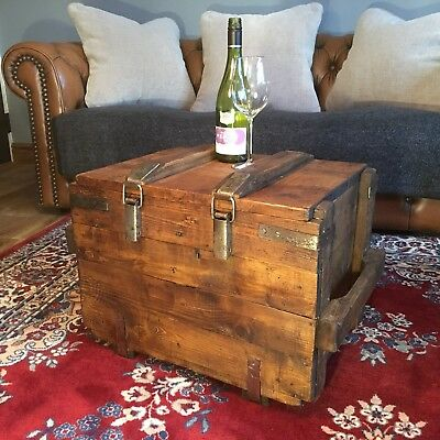 Vintage Upcycled Army Trunk Chest Shoe Box Coffee Table Toy Log Storage TV