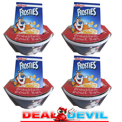 4 X Kellogg's Frosties Breakfast Cereal Bowl Set with attached Tip N' Sip Straw