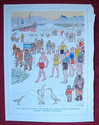 Punch full page colour cartoon, 1933, by George Morrow - Arctic swimming club!
