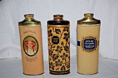 Lot of 3 Circa 1920 Colgate and Palmolive Talc Tins - Great Graphics