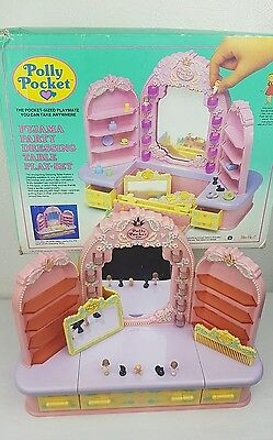 Vintage Polly Pocket Pyjama Party Dressing Table With Figures 1990 Boxed
