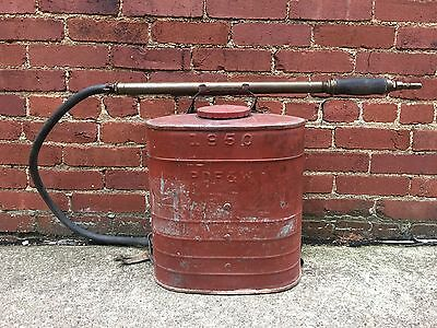 1950 Fire Extinguisher D.B. Smith Indian Back Pack Fire Pump Brass Nozzle