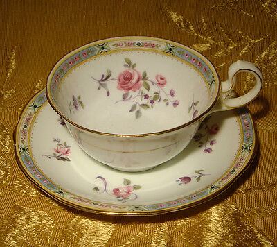 AYNSLEY CUP & SAUCER FLORAL PATTERN with PINK ROSES