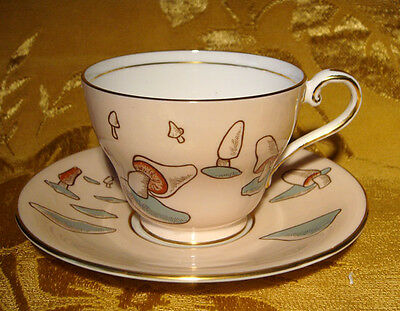 Aynsley Tea Cup & Saucer Mushrooms In Pale Pink Gold Trim